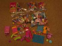 Lot of Polly Pocket Dolls, Accessories, Cars, Shoes,
