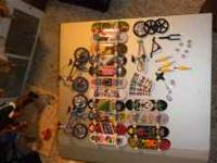 there is a total of 2 bikes and 15 boards with a few