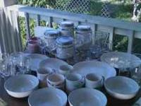 Canister set, plates, bowls, glasses, and mugs. Ideal