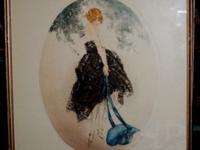 SALE. Louis Icart Print - Le Chapeau Bleu (Heaven