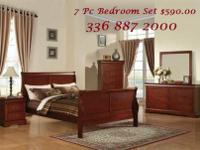 Includes headboard, footboard, night stand, dresser &