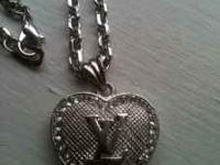 Louis Vuitton Silver Necklace 18 inches Long Great