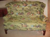 Must sell, custom fabric love seat. $150. Call .