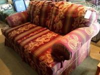 Burgundy-colored over-sized love seat. Only $95!  This