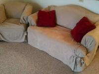 Matching Love Seat & Chair with slip covers, $75.00 or