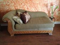 Overstuffed, beige love seat and chaise for sale. Very