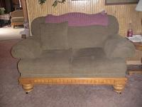 Beautiful Love seat has matching ottoman, you can buy