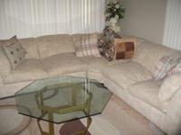 Lovely sectional pastel sofa in good condition, rarely