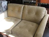 Faux suede loveseat. Used, in excellent condition.