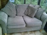 Super comfy loveseat couch. Perfect greyish tan neutral