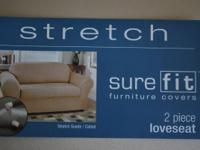 Stretch suede camel colored two-piece loveseat
