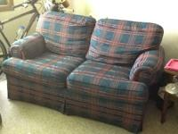 Plaid loveseat, good condition, no splits, rips, or