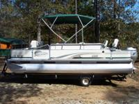 For sale 20-foot pontoon boat in outstanding condition.