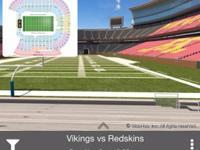 2 tickets vikings vs redskins  Sunday November 2