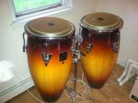 LP Aspire Double wood Congas with stand for sale.