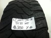 I HAVE COLLECTION OF 4 USED TIRES (LT2657516) TOYO MT