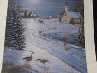 WINTER SCENE OF CANADIAN GEESE IN FOREGROUND AND