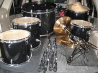 Genuine Ludwig Accent CS 6 piece drum set. Black with