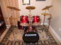 Ludwig accent drum set for sale with Paiste cymbals.