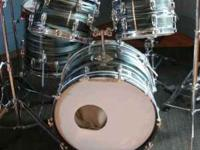 1965 Vintage Ludwig White Pearl 5 Piece Drum Kit For Sale