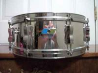VINTAGE 80S CHROME SNARE.MAPLE SHELL.THIS SAME SNARE IS