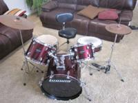 LUDWIG 5 PIECE DRUM SET UPGRADED CYMBAL PACK UPGRADED