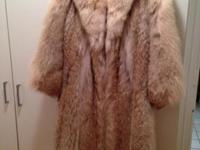 Long full-length coyote fur coat, size 6-8 but that was