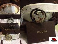 Brand New gucci belt white GG plus with white leather