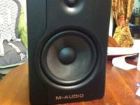Pair of m-audio bx8 d2 studio monitors. These are in