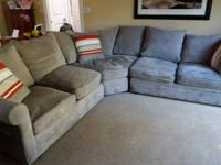 For sale: 3 piece gray fabric microfiber sectional sofa