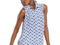 A graphic geometric print lends a cool edge to this