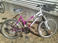 24 wheel girls bike. Purple and silver. Needs a lil