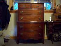 Mahogany bedroom set. High chest with five drawers,