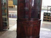 Mahogany 1940's bowed front corner china cabinet in