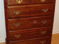 For sale is a mahogany chest with six drawers. It is