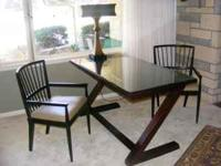 DESK AND CHAIR SET: Solid Mahogany ONE-OF-A-KIND glass