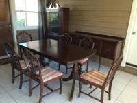 Mahogany dining table, chairs, china cabinet, sofa