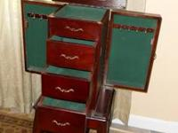 MAHOGANY JEWELRY ARMOIRE, 4 DRAWERS, HOOKS, TOP