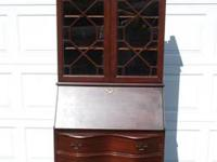 ANTIQUE MAHOGANY DROP FRONT SECRETARY WITH HUTCH