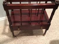 Mahogany magazine Rack with drawer and brass hardware