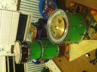 Lime green majestic drums, brand new hard ware and