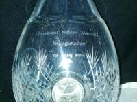 This beautiful crystal bottle with Mandela coin 1994.