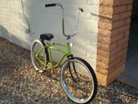 cool florescent yellow metallic clear coated bike, new