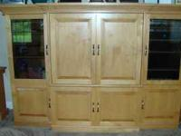 Beautiful hand crafted maple entertainment center.