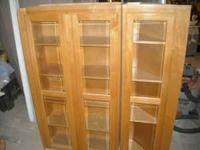 Two Maple Cabinets with beveled glass doors, authentic