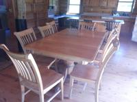 This is a strong wood Maple double pedestal table, that