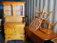 Solid maple hutch and drop leaf table with three