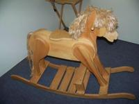 HAND MADE MAPLE ROCKING HORSE WITH OVER 200 PIECES IN