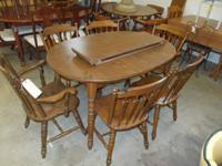Maple Temple Stuart table with 2 boards and 6 chairs.