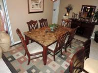 Here is a Beautiful Marble Dining Set Complete with Six